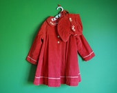 Vintage 1940s Child's Embroidered Corduroy Coat and Bonnet- Size 4T