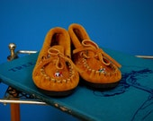 Toddler's Beaded Suede Moccasins- Size 8