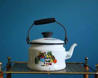 Vintage Mid Century Enamelware Kettle