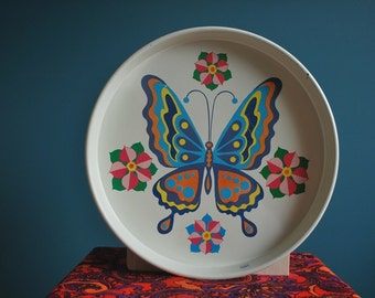 Vintage Metal Butterfly Tray