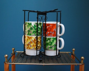 Vintage Set of Four Ceramic Mugs with Metal Holder
