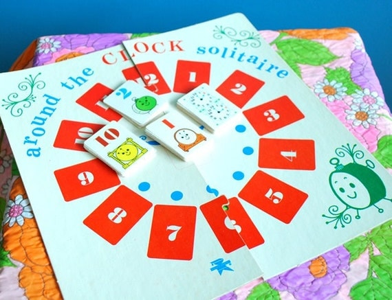 Vintage 1970s Around the Clock Solitaire Card Game
