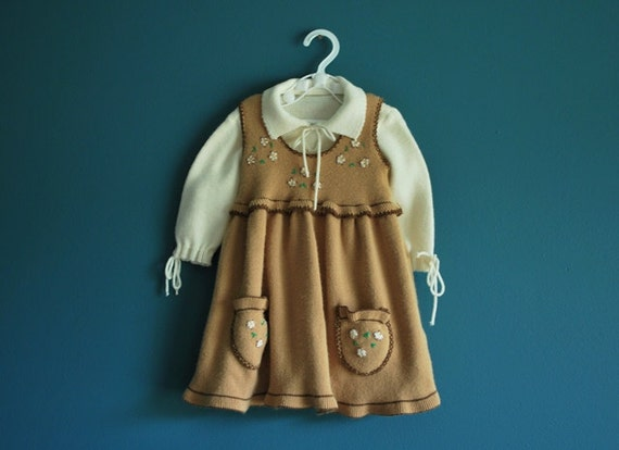 Vintage Baby Girl's Sweater Knit Pinafore Set- Size 12 Months