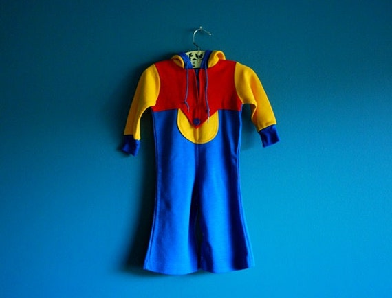 Vintage Toddler's Hooded Jumpsuit- Size 18 Months