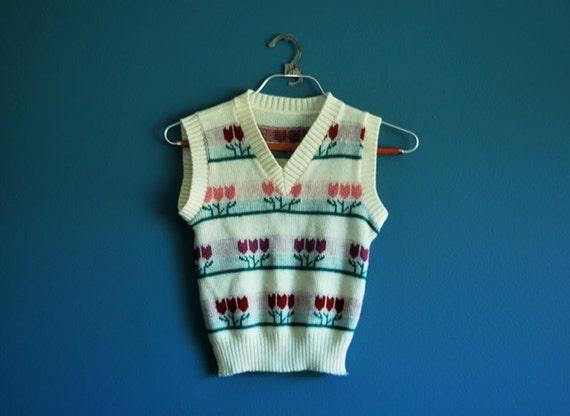 Vintage Girl's V-neck Sweater Vest- Size 8