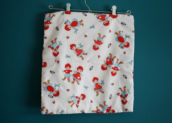 Vintage Raggedy Ann and Andy Print Doll Blanket