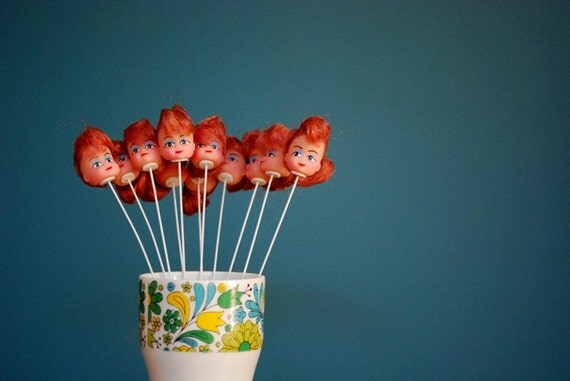 Vintage Doll Heads - 11 Redheads