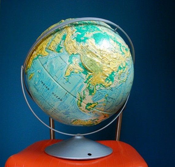 Extra Large 16 Inch Diameter Vintage World Globe