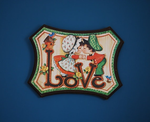 Vintage 1970s Wooden Love Plaque Wall Hanging