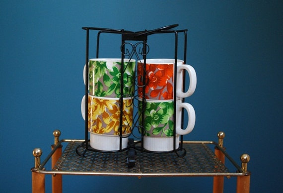 Vintage Set of Four Ceramic Mugs with Metal Holder