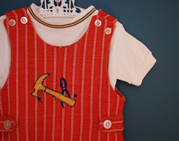 Vintage 1960s/1970s Health Tex Stantogs Two Piece Romper Set- Size 2T