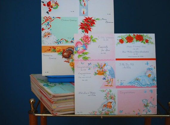 Vintage Lot of 1950s/1960s Uncut Small Greeting Cards
