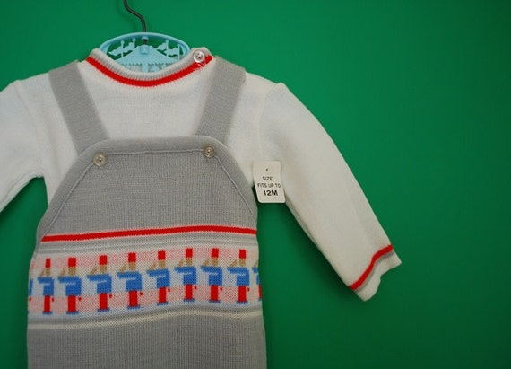 Vintage Knit Baby Overalls and Shirt Set with Toy Soldiers- New Old Stock- Size 0-3 Months