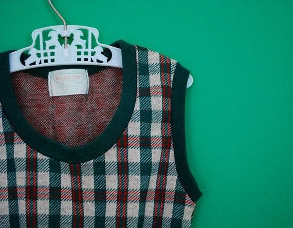 Vintage 1970s Plaid Vest by Health-tex Stantogs- Size 18-24 Months