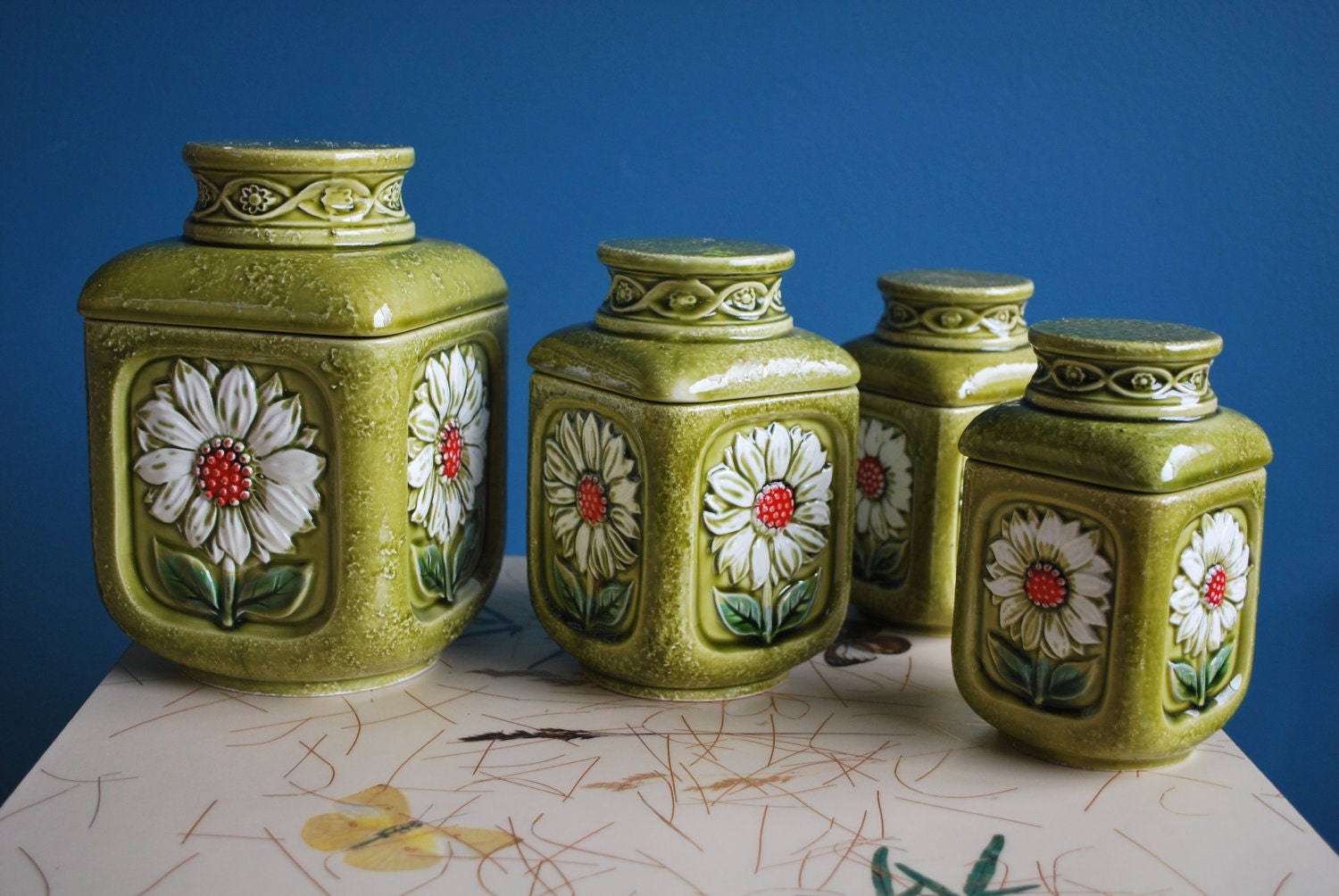 Vintage Ceramic Canister Set With Daisies By Sweetshopvintage