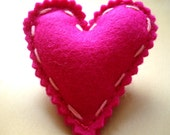 Gorgeous shocking pink felt heart brooch/pin great valentines gift or birthday gift idea