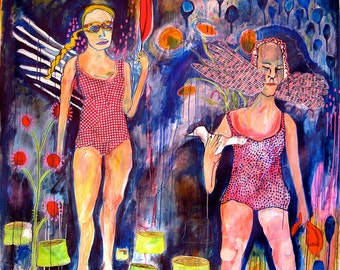 Girls with Wings Birds Large acrylic mixed media painting playful original art canvas painting figurative art naive childlike jamie hudrlik