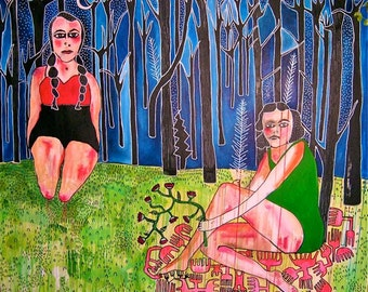 Girls in the Trees Large acrylic mixed media painting forest original artwork canvas Surreal figurative art naive childlike jamie hudrlik