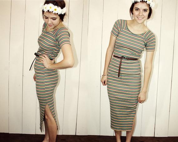 Rainbow Striped Maxi Dress S M