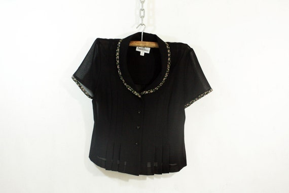 Black Sheer Blouse with Floral Trimming M