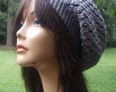 My Pretty Crochet Slouchy Hat Tam Beret Gray Grey Women Handmade Ready to Ship
