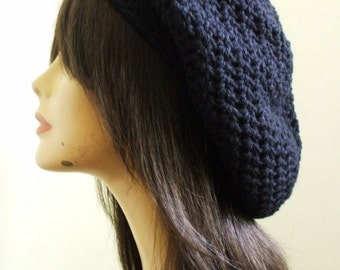 My Pretty Crochet Slouchy Hat Beret Tam Women Winter Hat BLACK Men Slouch Hat Women Ready to Ship