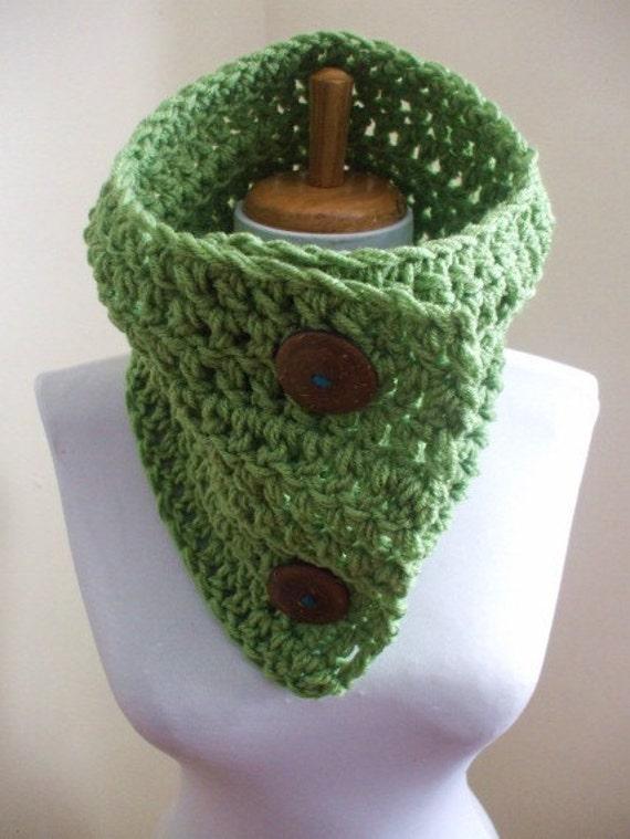 Chunky Cozy Crochet Cowl Scarf NeckWarmer Scarflette AVOCADO GREEN Unisex Men Women Ready to Ship
