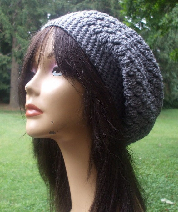 Women Slouchy Hat Tam Beret Gray Grey Women Handmade Ready to Ship