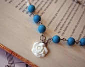 Rose Cab and Turquoise Necklace