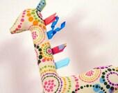 Handmade Stuffed Giraffe Dotted Circles on Cream