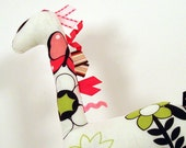 Handmade Stuffed Giraffe White with Pink and Green flowers, Birds and Butterflies