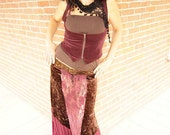 Skirt, Bohemian Fashion, Patchwork, Exotic Fusion, Handmade Clothing, Tribal Fusion, Romantic Design, A line Skirt, Burgundy, One Size