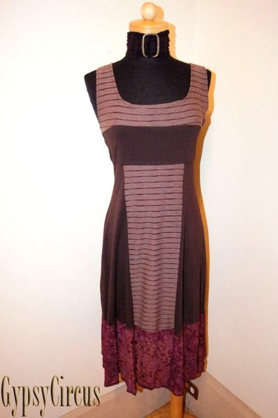 Summer Dress - Bohemian Gypsy - Organic Clothing - Patchwork - Canadian Designer - Sexy - Handmade - Organic Cotton - Size Large ( SALE )
