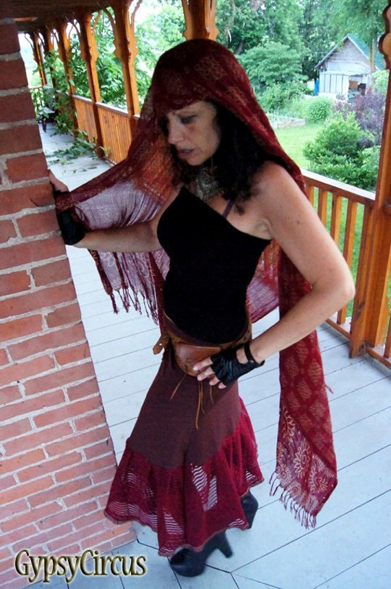 Skirt - Steampunk - Bohemian Gypsy - Burlesque - Fall Fashion - Shabby Chic - Sexy - Burgundy - Cotton Jersey - Size Medium