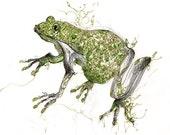 Green Art, frog art, childrens art print, childrens artwork, green painting, frog prince, boys room art, kelly green, animal art, wall art