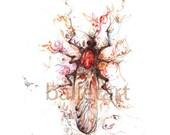Insect art, single love bug, art print, ballet art, hand drawing, wall art, kids room art, insect drawing, prints illustrations, mixed media
