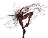 ballerina artwork, Black Bird, black and white wall art, art print, ballet art, dance gifts, black ink, hand drawing, illustrations