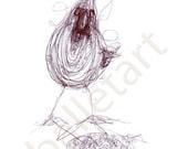 My Black  Bird, art print, black ink drawing, halloween decor, wall art, bird illustration print, trending now, under 25