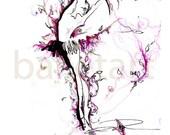 ballet art, sleeping beauty, dancer painting, magenta art, ballerina artwork, ballet dancer, whimsical art