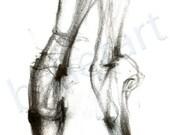 ballet on pointe, dance art print, pointe shoe pencil drawing, ballet art, black and white, artwork, illustration