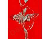 ballet art, wall art, red artwork, prints illustrations, Sugarplum or nutcracker ballet - art print, poster, interior design, girls room art