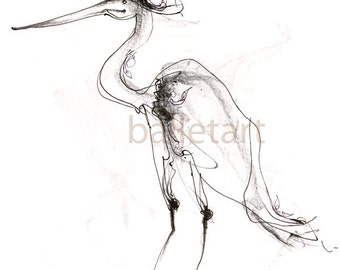 Couture Flamingo art, bird art, pencil drawing, black and white art, art print, flamingo print, bird illustration, bird artwork, animal art
