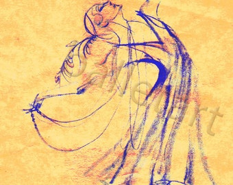 Ballet Russes, Blue yellow art, ballet art, 1920s, artwork print, dance art print, fashion illustration, wedding art