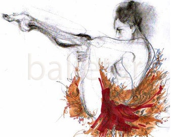 Ballet Art Print, Neoclassical Improvisation or Ballet Moves in Ruby Red Floral Tutu, hand drawing print, artwork, ballerina gift