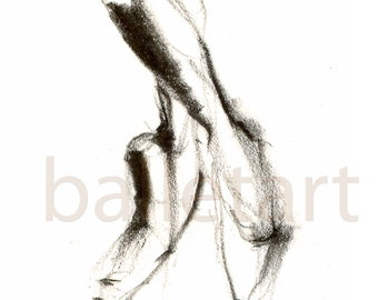 pointe shoes, ballet art, pencil drawing, figure drawing, feet, art print, contemporary art, wall art, black and white, gift for dancer
