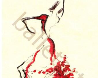 prints illustrations, spanish dancer, ballet art, dance gifts, dancer painting, art print, figure drawing, spanish dress, fashion wall art