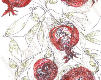 Red Pomegranate Art Ruby Red art print, Christmas gift, kitchen art, kitchen artwork, hand drawing, red wall art, interior design, under 25,