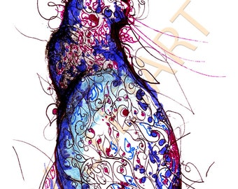 "Cobalt Blue Cat, cat artwork, cat art print, cat drawing, whimsical cat art, cat wall art, blue artwork, navy blue painting  - 8.5"" by 11"""