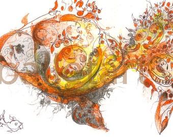 gold fish art print of original hand drawing, yellow gold fish artwork, fish painting, fish illustration, BalletArt, wall art, kids room art