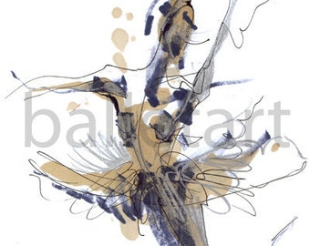 Dance Art Print, ballerina image or imaginary dance - ballet art - hand drawing - artwork print - wall art , Fashion Illustration